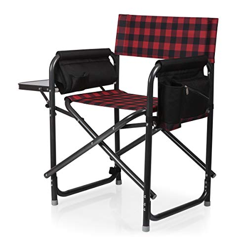 ONIVA - a Picnic Time brand Outdoor Directors Folding Chair, Red/Black Buffalo Plaid