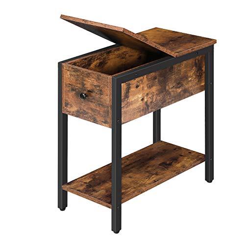 HOOBRO Beistelltisch, Nachttisch mit Stauraum, schmaler Sofatisch mit Ablage, Kaffeetisch, Konsolentisch für kleine Räume, für Wohnzimmer, stabile, platzsparend, Dunkelbraun EBF34BZ01