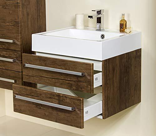 Quentis Badmöbel Zeno, Breite 60 cm, Waschbecken und Unterschrank, 2 Schubladen, Softeinzug, Holzdekor antik, Waschbeckenunterschrank montiert