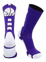 commercial MadSportsStuff Basketball Logo Small Sports Crew Socks-Purple / White cool basketball socks