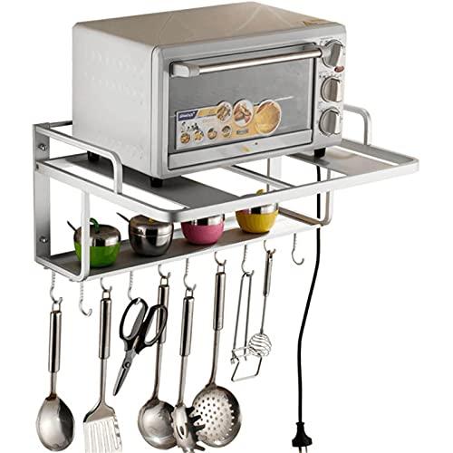 FHTD Estantes para Horno microondas, Estante de Pared de Almacenamiento de Cocina de 2 Capas con 10 Ganchos en S extraíbles, Organizador de Colgador de Utensilios para ollas y ollas