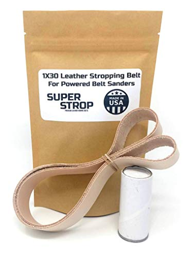 1x30 inch Leather Honing Strop Belt Super Strop with White Buffing Compound fits 1x30 Powered Belt Sanders