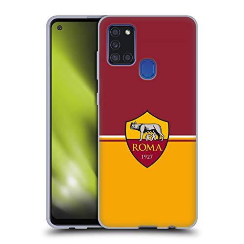 Head Case Designs Offizielle AS Roma Fahne Kamm Soft Gel Handyhülle Hülle Huelle kompatibel mit Samsung Galaxy A21s (2020)