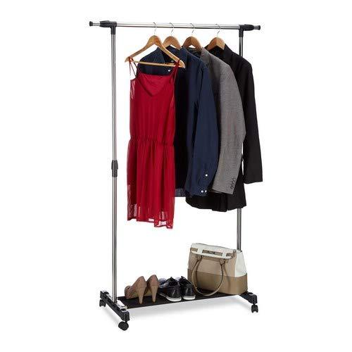 Relaxdays, Silber Kleiderständer auf Rollen, Garderobenwagen mit Kleiderstange und Ablage, höhenverstellbar: 96-162 cm, Standard