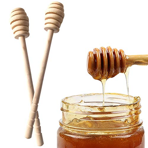 Walmeck - Hoge kwaliteit honing roerstaaf menggreep glas lepel praktische 1 stuk houten lepel honing lange stok levering honing keukenhulp
