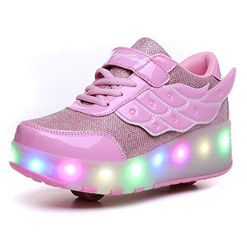 Zapatillas con Ruedas LED Luces Luminosas Zapatos de Roller Ajustable Doble Rueda Patines Calzado Deportivo al Aire Libre Niños Niña Gimnasia Zapatos de Skateboard con USB Carga