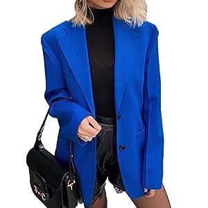 MU2M Womens Fashion Notch Lapel Solid Color Two Button Blazer Jacket Coat