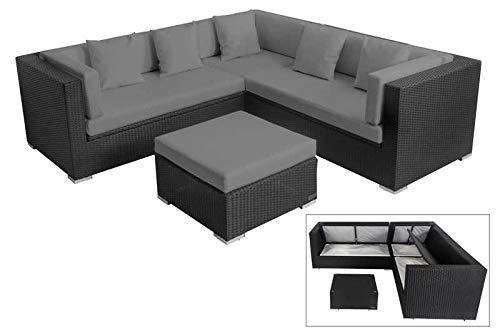 OUTFLEXX Loungemöbel-Set, schwarz, Polyrattan, 6 Personen, wasserfeste Kissenbox