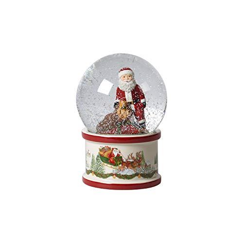 Villeroy & Boch Christmas Toy's große Schneekugel, Schüttelkugel mit Santa Claus aus Hartporzellan, weihnachtliche Motive, Glaskugel, bunt
