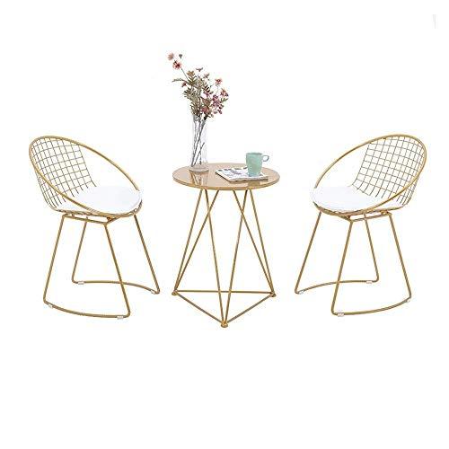 ZGYZ Juegos de Mesa de sillas de Moda Taburete Alto de Oro Simple Taburete de Hierro Arco con Respaldo Alto Taburete de Bar Taburete Cafetería Maquillaje Sillas de Ocio (1 Mesa 2 sillas)