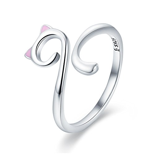 WOSTU Girls Cat Rings 925 Sterling Silver Cute Cat Wrap Rings Adjustable Bands
