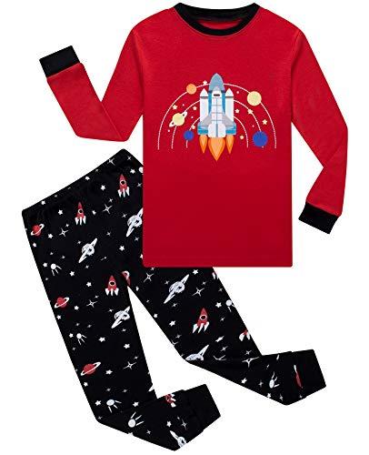 Boys Pajamas 100% Cotton Long Sleeve Toddler Pjs Set Rocket Clothes Kids Pjs Sleepwear 4T Red