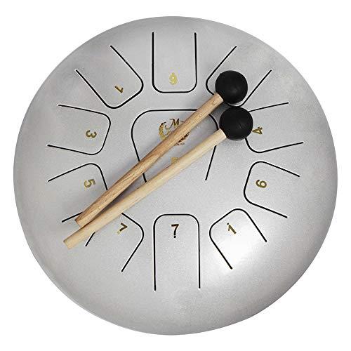Muslady Pan Drum 11 Toon Hand Pan trommel roestvrij staal 12 inch slaginstrument met slaggereedschap sop tassen dragen Opmerking sticks 12 zoll zilver