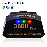 TONWON Car Bluetooth 4.0 OBD2 Code Readers, OBDII Bluetooth Scan Tool Car Diagnostic Tool Vehicle Scanner for iOS and Andiord