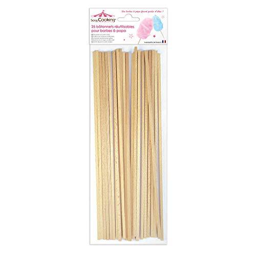 ScrapCooking 5187- Juego de 25Varillas para algodón de azúcar de Haya Beis de 34 x 11 x 1 cm.