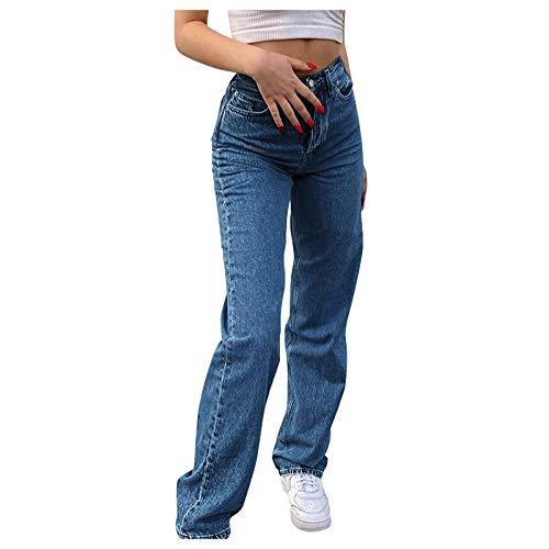 Jeanshose High Waist Schmetterlingsdruck Straight Jeans, Mode Baggy Weites Bein Hose Wasser Waschen Style Damenjeans, Schmetterling Gedruckt Freizeithose Boyfriend Jeans