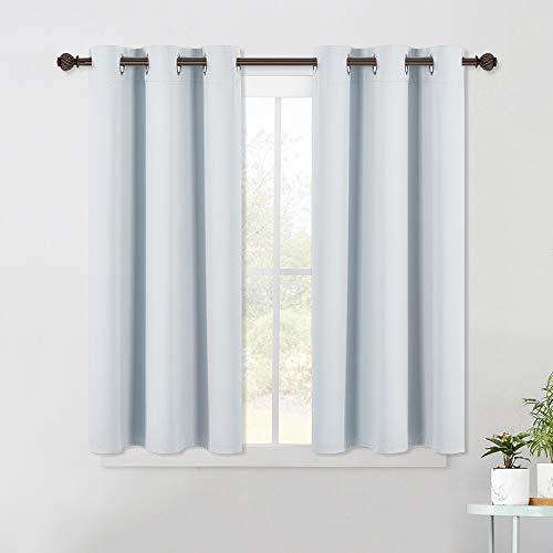 NICETOWN Room Darkening Draperies Curtains Panels, Window Treatment Thermal Insulated Grommet Room Darkening Curtains/Drapes for Bedroom (2 Panels, 42 by 45, Platinum-Greyish White)