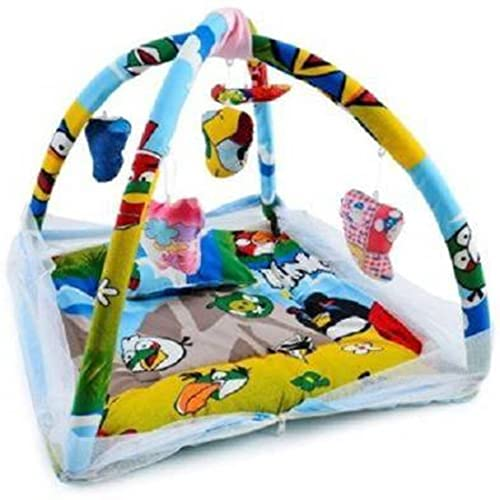 Little Monkeys Infant Baby Bedding Set with Mosquito Net   Newborn Play Gym with Hanging Toys   New Born Infants Machardani Sleeping Bed - Angrybirds