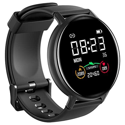 IOWODO Smartwatch Hombre Mujer con Esfera Personalizada, Reloj Inteligente Impermeable con Notificación de Mensajes, Monitor de Sueño,Oxímetro(SpO2),Pulsera Actividad Inteligente Para IOS Android
