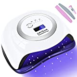 UV Led Nail Lamp,ZMteam 168W Fast Portable Gel Nail Polish Dryer,UV Led Nail Light with 4 Timers Setting/Auto Sensor/LCD Display, Professional Gel Manicure Kit Curing Lamps for Salon and Home (White)