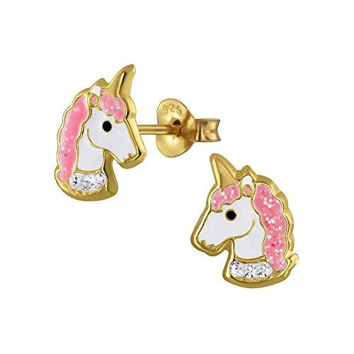 Laimons - Orecchini da bambina a forma di unicorno, 11 x 8 mm, in argento 925 placcato oro rosa con brillantini
