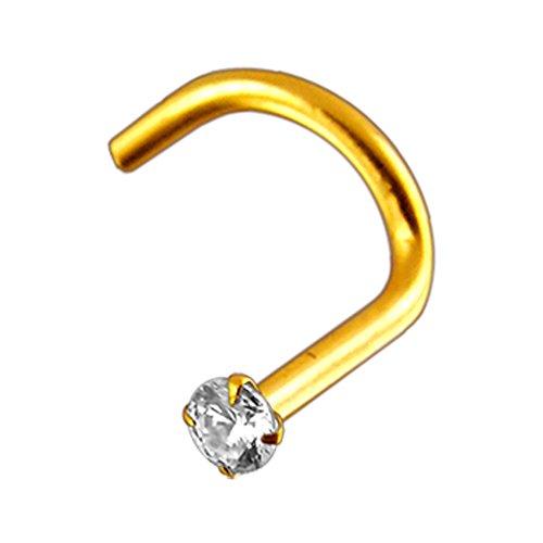 18 karaat solide geel gouden klauwen set 1,5 mm ronde CZ stenen top 20 gauge neusgat neus schroef piercing sieraad