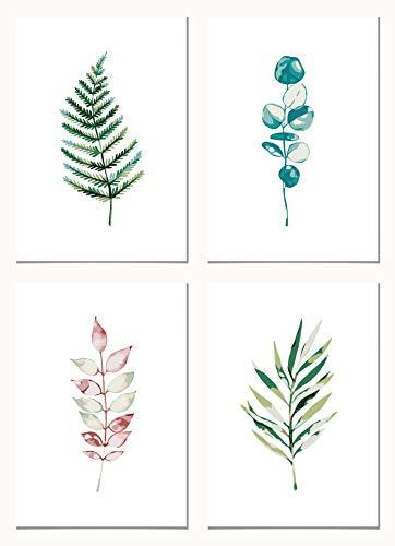 Panorama Pack de 4 Pósters Plantas Botánicas 21x30cm - Impreso en Papel 250gr - Láminas Cuadros Hojas Verdes - Conjunto Cuadros Pared - Cuadros Botánica - Cuadros de Plantas