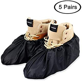 LINKEASE Reusable Boot & Shoe Covers Water Resistant Non Skid and Washable for Real Estate Contractors to Keep Floors Carpets Footwear and Rooms Clean - 5 Pairs (Large, Black)