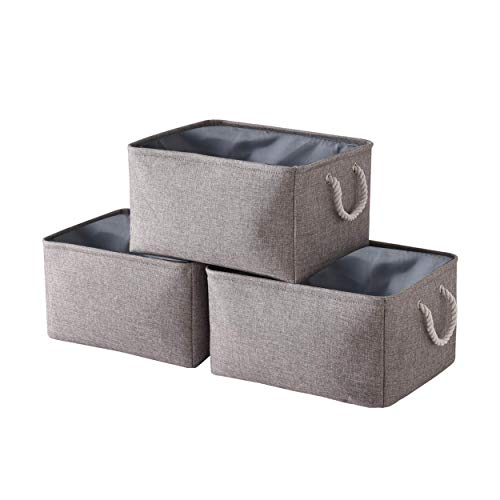pulnimus Fabric Storage Baskets [3-Pack] Dog Toy Baskets, Decorative Baskets with Handles,Collapsible Baskets for Organizing, Storage Baskets for Shelves, Toys, Clothes, Office (Grey)