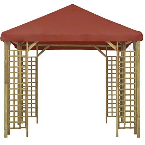 Lechnical Gazebo da Giardino Tendone da Giardino, Gazebo in Legno massello di Pino, Waterproof UV Protection Pavilion Garden Tent Party Tent 3x3 m Terracotta