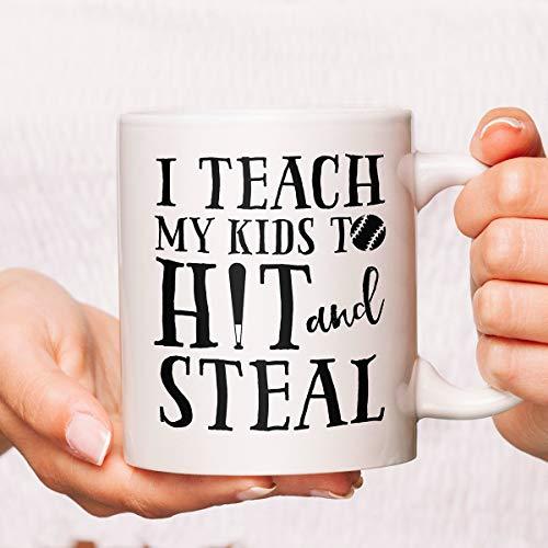 I Teach My Kids To Hit And Steal Coffee Mug, Baseball Mom Coffee Mug, Baseball Bat Mug, Baseball Cup, Baseball Coffee Mug, Baseball Mug
