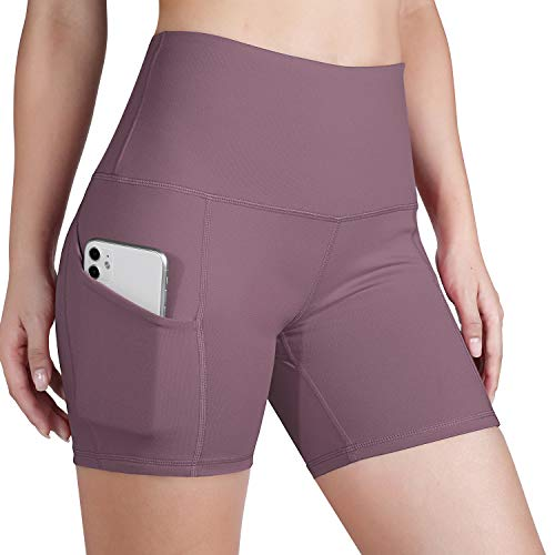 ODODOS Women's Out Pockets High Waisted Workout 5' Shorts, Yoga Athletic Cycling Hiking Sports Shorts,Lavender,Large