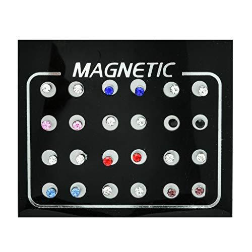 ZZALLL 12 Pares de Pendientes magnéticos de Diamantes de imitación no Perforados, Pendientes de Clip, joyería, 4 mm