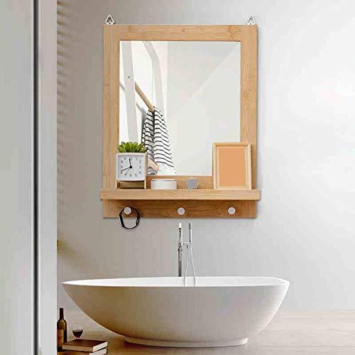 ZLP Wandrek, drijvend, decoratief, multifunctioneel, spiegel van bamboe, wandrek, 47,5 x 13,5 x 60 cm