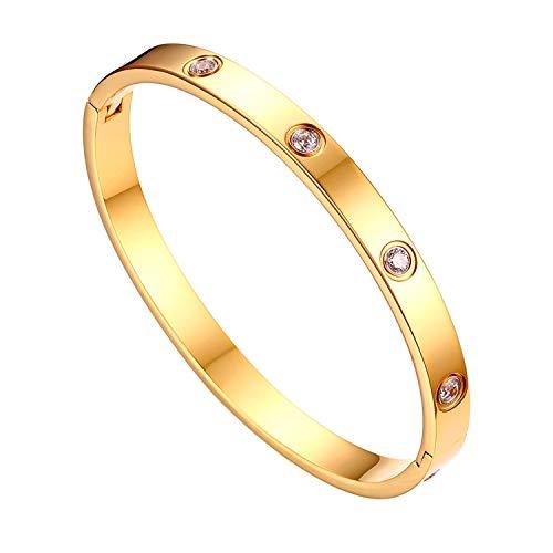 JewelryWe Schmuck Damen Armreif Edelstahl Zirkonia einfache Stil Liebe Armband 6mm breit mit Schließe Armspange Gravur Gold