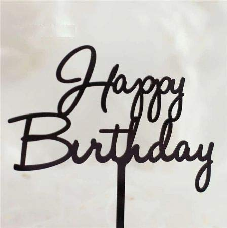 アクリル ケーキトッパー 筆記体 バースデー 誕生日 お誕生日 デコレーション ケーキ 飾り 手作りケーキ ケーキ専用 誕生日ケーキ (ブラック)
