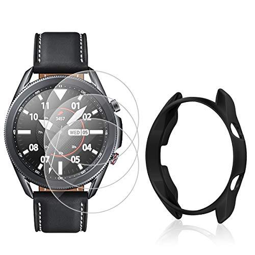 CAVN Panzerglas Kompatibel mit Samsung Galaxy Watch 3 45mm Schutzfolie + Schutzhülle [3+1 Stück], Wasserdichtes Glas Bildschirmschutzfolie Kratzfest Panzerglas mit 1 Schutz Hülle Gehäuse Stoßfest Bumper