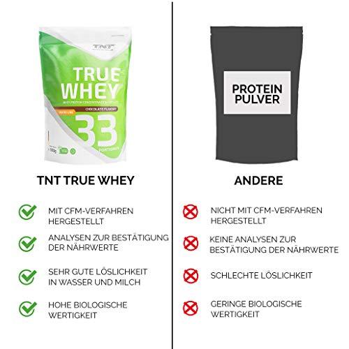 TNT True Whey (CHOCOLATE) – Whey Protein Konzentrat & Whey-Isolat – Post Workout Shake – Hohe Bioverfügbarkeit und hoher Anteil an Aminosäuren – BCAA – Proteinshake zum Muskelaufbau und Abnehemen -1000g Beutel - 4
