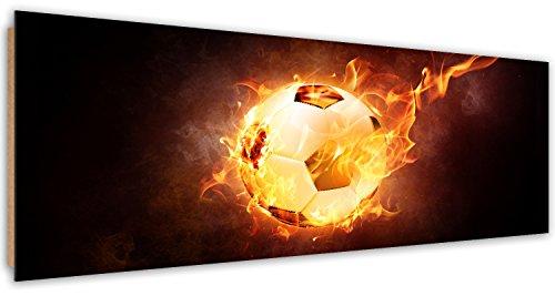 Feeby. Tableau Déco, Décoration Murale, Image imprimée, Deco Panel, Panoramique, 90x30 cm, Football, Sport, Rouge