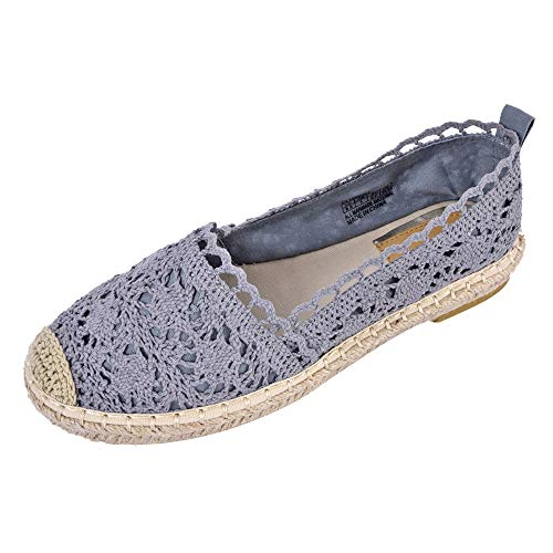 JENN ARDOR Women's Espadrille Sneakers Casual Flats Classic Slip-On Hollow Shoes Grey