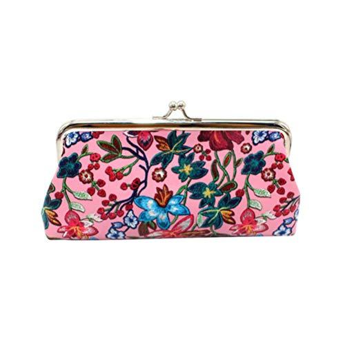 Boner Women Retro Printing Flower Leather Wallet Portemonnee Kaarthouders Handtas flower, C