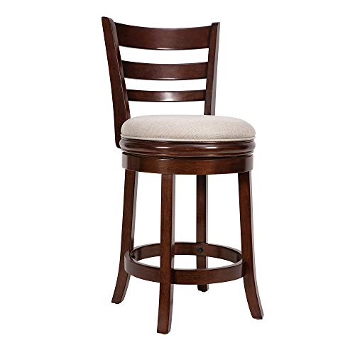 Ball & Cast Swivel Counter Height Barstool 24 Inch Seat Height Cappuccino Set of 1