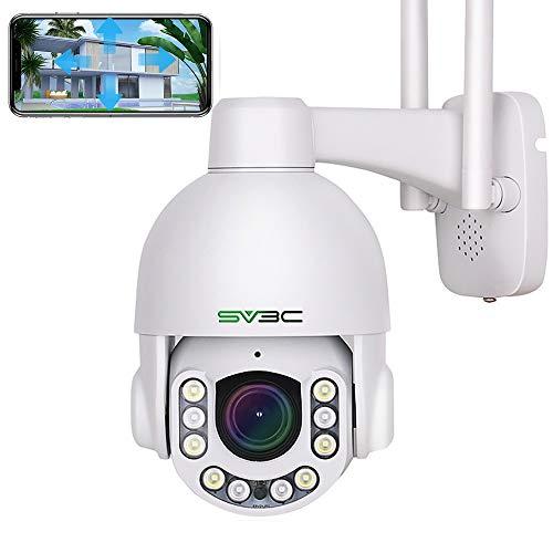 5MP Überwachungskamera Aussen WLAN mit 5X Optischer Zoom, SV3C PTZ WiFi IP Kamera Outdoor mit Mensch Bewegungsmelder, 2-Wege Audio, IP66 Wasserdicht, 50m Nachtsicht, mit Micro SD Kartenslot
