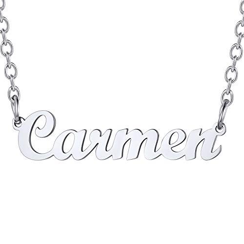 U7 Carmen Collar Nombres para Mujeres Material Acero Inoxidable Tono Plateado Colgantes Personalizables de Madre Hija