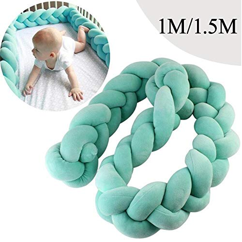 Baby Infant 1m/1.5m Crib Bumper Pads Knotted Braided Plush Nursery Bed Safety Rail Guard, Cradle Protector, Cot Sleep Bumper Pillow, Knot Ball, 3-Strand, Pure Color,Green, 1.5m