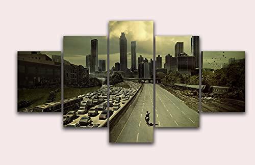 Póster de la película The Walking Dead - Cuadro de lienzo de gran tamaño 5 piezas para decoración del hogar (total 55 x 100 cm, sin marco)