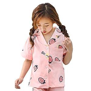 パジャマ キッズ 女の子 綿100 ルームウェア 半袖半ズボン 上下セット 前開き 部屋着 いちご 165 夏 寝間着 肌触りがいい (ピンク いちご, 165)