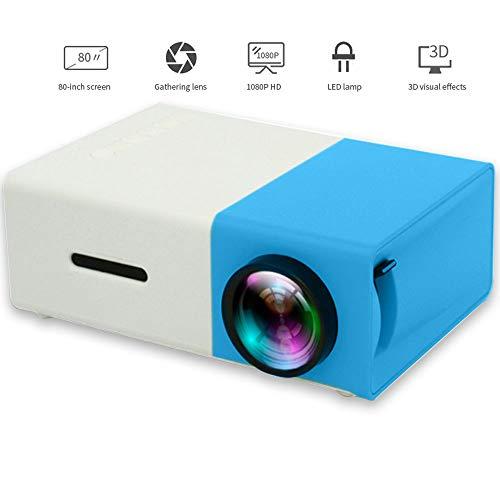 LED-Projektor, 600 Lumen, 3,5 mm Audio, 320 x 240 Pixel, YG-300, HDMI-USB-Mini-Projektor, Home-Media-Player, Mini-Mikroskop-Filmprojektor,Blue
