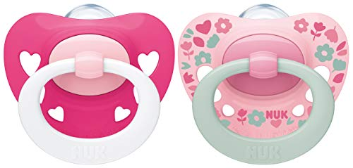 NUK Signature Schnuller   18-36Monate   BPA-freier Schnuller aus Silikon   rosa Herzen   2Stück