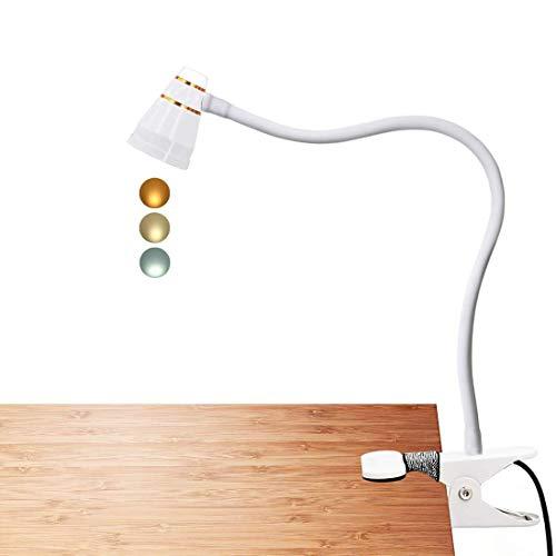 LED Klemmleuchte als Leselampe, Schminklicht, CeSunlight Schreibtischlampe, 3 Farbtemperaturen, 11 Helligkeiten, Klemmlampe USB, LED Lampe dimmbar, Tageslicht, 2 m USB-Kabel und Netzteil (weiß)